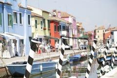 Pali decorati sull'isola di Burano, Italia Immagini Stock Libere da Diritti