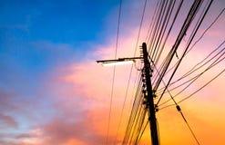 Pali di elettricità Fotografie Stock