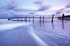 Pali di legno alla spiaggia del Mar Baltico alla luce uguagliante fotografia stock libera da diritti