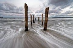 Pali di legno sulla spiaggia, movimento dell'acqua nell'esposizione lunga immagine stock