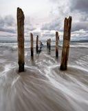 Pali di legno sulla spiaggia, movimento dell'acqua nell'esposizione lunga immagini stock
