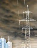 Pali di potere in una città Fotografia Stock