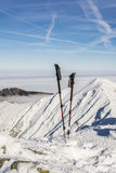 Pali di trekking nella neve Immagine Stock Libera da Diritti