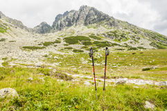 Pali di trekking su fondo delle montagne Immagini Stock Libere da Diritti