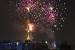 Palić fajerwerki podczas Reveillon w Brazylia Obrazy Stock