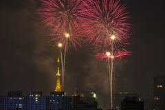 Palić fajerwerki podczas Reveillon w Brazylia Obrazy Royalty Free