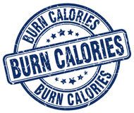 Pali kalorii błękitnego grunge rocznika round znaczek ilustracja wektor