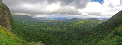 Pali lookout Kaneohe Hawaii Panoramic. Pali lookout..took 20 pics to make this one Stock Images