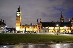 Paliament Square. LONDON - DECEMBER 25: Paliament Square at the Christmas night on December 25, 2012 in London Stock Photos