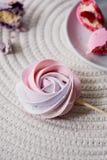 Palidezca - el merengue en colores pastel rosado en un palillo El dulzor que los niños aman Fiesta de cumpleaños del ` s de los n Foto de archivo