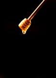 Palillo de la miel, cazo Miel goteada Comida sana natural de la miel Fotografía de archivo