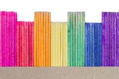 Palillo de madera colorido del helado imagen de archivo