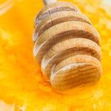 Palillo de madera de la miel en la superficie de la miel Foto de archivo libre de regalías