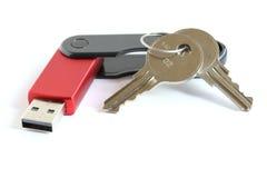 Palillo del mecanismo impulsor de memoria Flash del USB con claves Imagen de archivo libre de regalías
