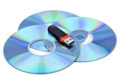 Palillo y CD de la memoria del USB Imágenes de archivo libres de regalías