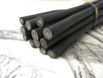 Palillos 1 del carbón de leña foto de archivo libre de regalías