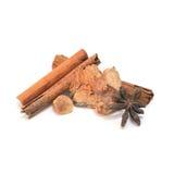 Palillos de canela, anís de estrella secado, jengibre secado, ajo secado (H Imágenes de archivo libres de regalías