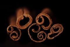Palillos de canela en fondo negro Imagen de archivo libre de regalías