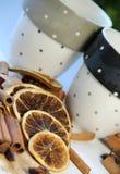 Palillos de cinamomo y naranja seca Imagenes de archivo