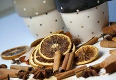 Palillos de cinamomo y naranja seca Foto de archivo