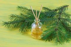 Palillos de la fragancia o difusor coníferos del olor Imagenes de archivo