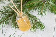 Palillos de la fragancia o difusor coníferos del olor fotografía de archivo libre de regalías