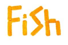 Palillos de pescados en un fondo blanco Imágenes de archivo libres de regalías