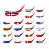 Palillos del hockey sobre hielo con las banderas libre illustration
