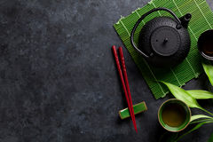 Palillos del té verde y del sushi Fotografía de archivo