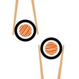 Palillos del vector hHolding el marco del rollo de sushi Fotos de archivo