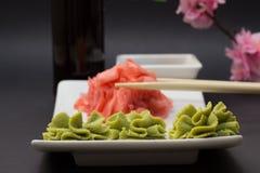 Palillos del wasabi y del bambú de Gimger Imagen de archivo