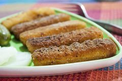 Palillos fritos de la merluza Fotografía de archivo