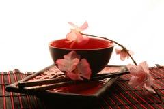 Palillos, placa y taza chinos Imágenes de archivo libres de regalías