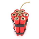 Palillos rojos de la dinamita - TNT con la mecha Imagen de archivo libre de regalías