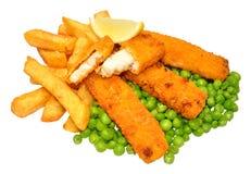 Palillos y Chips Meal empanados de pescados Fotografía de archivo libre de regalías