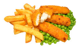 Palillos y Chips Meal empanados de pescados Fotos de archivo libres de regalías