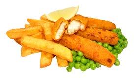 Palillos y Chips Meal empanados de pescados Imagen de archivo libre de regalías