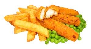 Palillos y Chips Meal empanados de pescados Foto de archivo