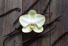 Palillos y flor de la vainilla en la madera Imagen de archivo libre de regalías