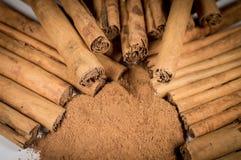 Palillos y polvo verdaderos de canela de Ceilán Imagenes de archivo