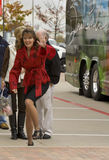 Sarah Palin Trips on Curb while Waving to Crowd Royalty Free Stock Images
