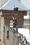 Paling. Timbered fence around the Kremlin in the Izmaylovo. Moscow Royalty Free Stock Photo