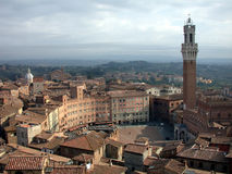 "Piazza del Campo, Siena, where the Palio di Siena is held. The famous Piazza del Campo area of Siena, where annual horse races called the ""Palio"" take stock images"