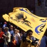 Palio di Siena - juli 2003 Arkivbilder