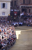 Palio di Siena - july 2003. Before the real Palio, some tests are performed. One of the first is the evidence for the choice of the horses. The jockeys do not stock image