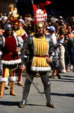 Palio di Siena - july 2003. An important moment of the Palio of Siena is the parade. in this immagiine a character with the colors of the contrada (district) of stock photos