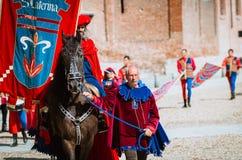 Palio, Parade of medieval knight on horseback Stock Photos