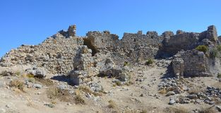 Palio Pyli castle ruins, Kos, Greece. On a sunny day stock photo
