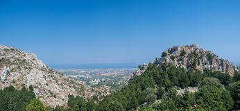 Palio Pyli Panorama - Kos Greece. Panoramic view from the Taverna over to the Palio Pyli castle royalty free stock images