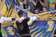Palio - race. Ferrara, Italy - 10 may 2015 -Palio, the city celebrates with competitions of the flag wavers and the parade of the districts. The flag-flyers royalty free stock photos